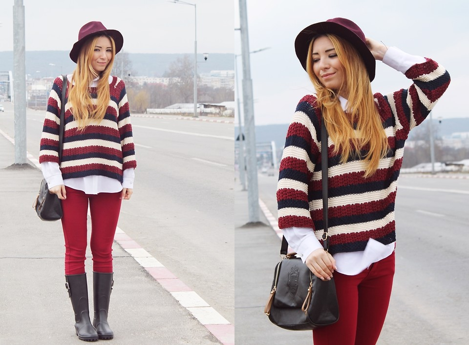 combinatie de alb rosu si bleomaren - tinuta de iarna | blogger de moda andreea ristea